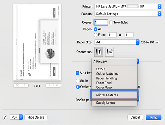 Printer Features in the HP driver