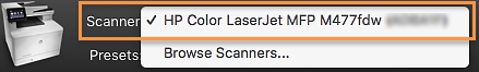 Select the printer from the Scanner drop-down list