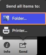 In the Send menu, select Folder