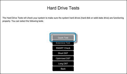 Selección de la Prueba rápida de la unidad de disco duro