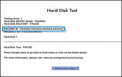 Resultados de la prueba de disco duro que indican una falla