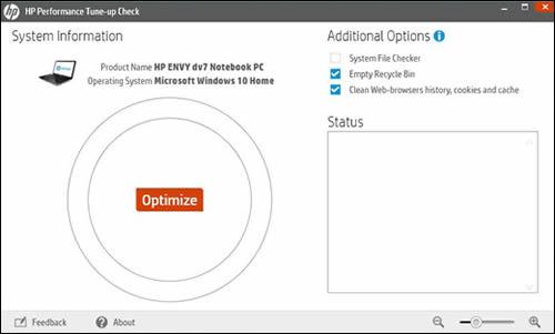 La pantalla de inicio de HP Performance Tune-up Check (la comprobación de la optimización de desempeño de HP)