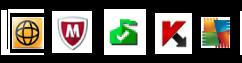 Ikony często używanego oprogramowania zabezpieczającego wzasobniku systemowym