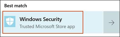 Seleccionar de Seguridad de Windows en los resultados de búsqueda