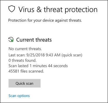 Pantalla de protección contra virus y amenazas con opciones de análisis