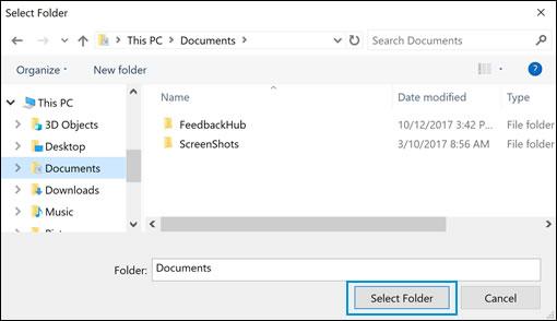 Opciones de selección de unidades y carpetas en Seguridad de Windows