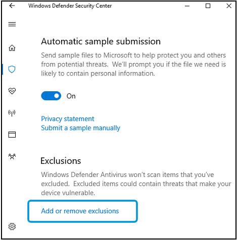 Configuración de protección contra virus y amenazas, área de exclusiones