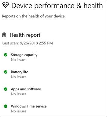Relatório de integridade da Segurança do Windows