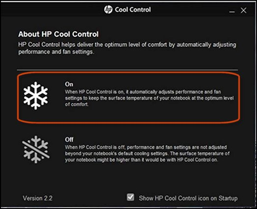 HP Cool Control מופעלת