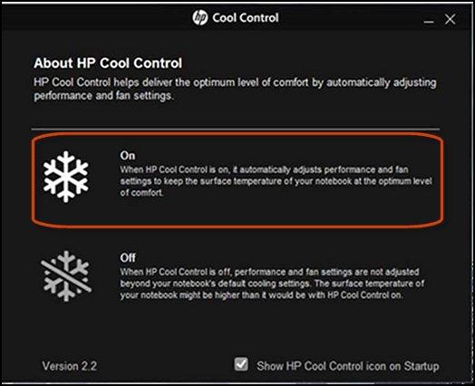 HP Cool Control ligado