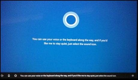 Cortana Einführungsbildschirm