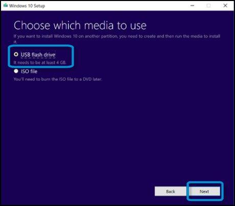 Pantalla Elegir qué medio se usará con la opción Unidad flash USB seleccionada