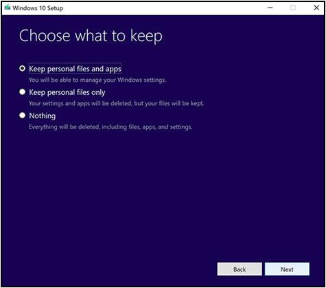 Conservar los archivos personales y las aplicaciones o Conservar solo archivos personales en la ventana Elija lo que quiere conservar