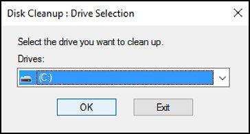 Fenêtre Nettoyage de disque avec le lecteur C: sélectionnée