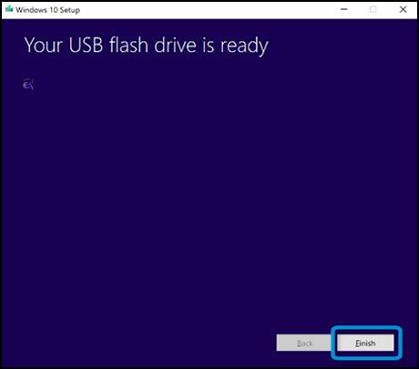 USB 플래시 드라이브가 준비되었습니다 창에서 마침 클릭