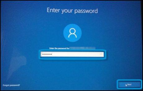 Het scherm Voer uw wachtwoord in met het tekstveld gemarkeerd en Volgende geselecteerd