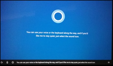 Cortana-beginscherm