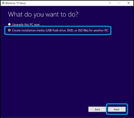 Tela O que você deseja fazer? com Criar mídia de instalação para outro computador selecionado