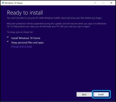 Tela Pronto para instalar com Instalar selecionado