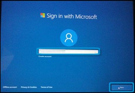 Экран входа с использованием учетной записи Microsoft с выделенным текстовым полем и кнопкой Далее