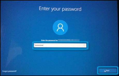 Экран ввода пароля с выделенным текстовым полем и кнопкой Далее