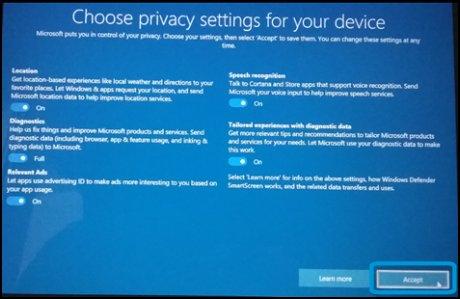 Экран выбора параметров конфиденциальности для вашего устройства, выбрано Принять