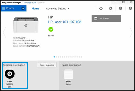 Example of Supplies Information in HP Easy Printer Manager
