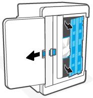 Liberando e segurando a trava azul para remover o painel