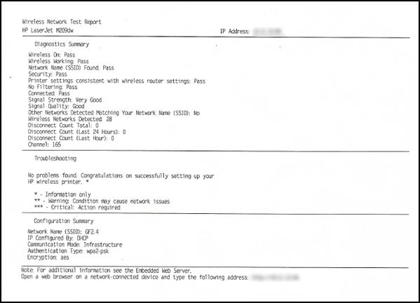 Exemplo de relatório do teste da rede sem fio
