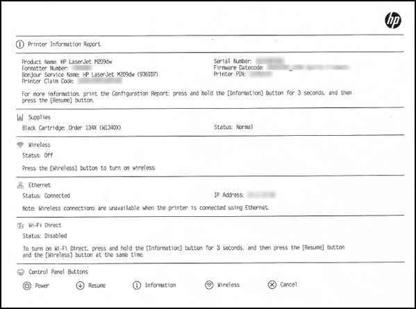 Exemplo de relatório de informações da impressora