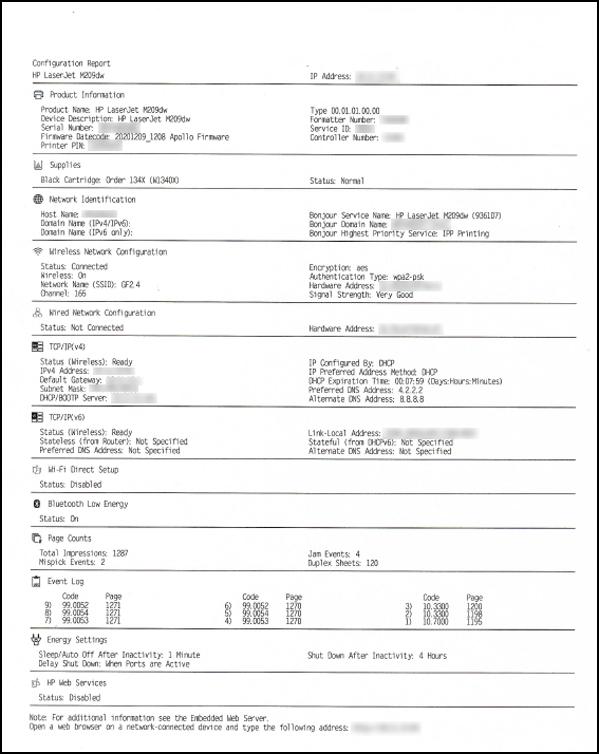 Exemplo de um relatório de configuração
