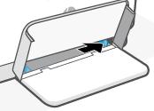 Deslizando as guias do papel em direção às bordas da bandeja de entrada