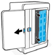 Подъем и удерживание синей защелки для снятия панели