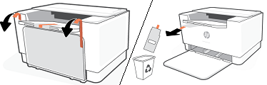 Entfernen und Recyceln des Verpackungsmaterials