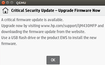 'Critical Security Update - Upgrade Firmware Now' message