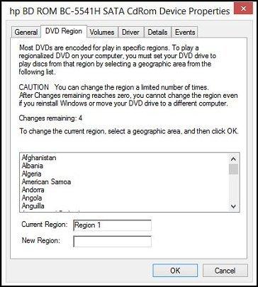 Ficha Región de DVD en Propiedades del dispositivo