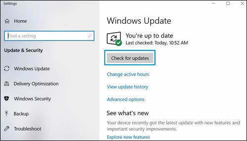 """Das Fenster """"Windows Update"""" mit hervorgehobenem """"Nach Updates suchen"""""""
