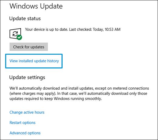 """Klicken auf """"Installierte Updates anzeigen"""""""