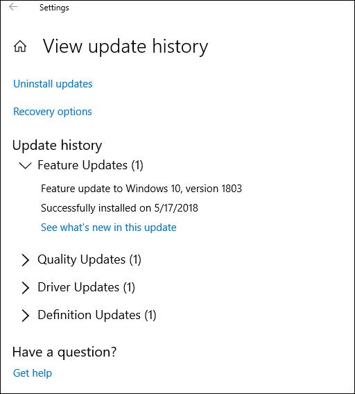 Ekran Wyświetlania historii aktualizacji