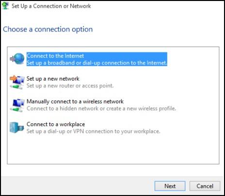 Oprettelse af forbindelse til internettet