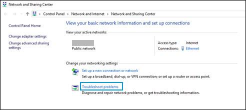 """Seleccionar """"Solucionar problemas"""" en la ventana del Centro de redes y recursos compartidos"""