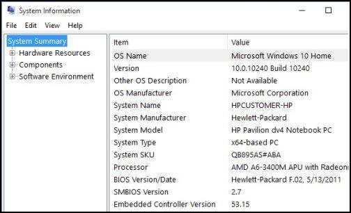 Identification de la fenêtre Informations système