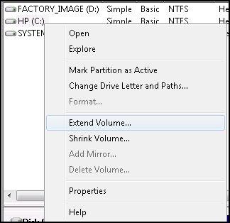 Extension du volume sélectionné dans la fenêtre de Gestion de l'ordinateur