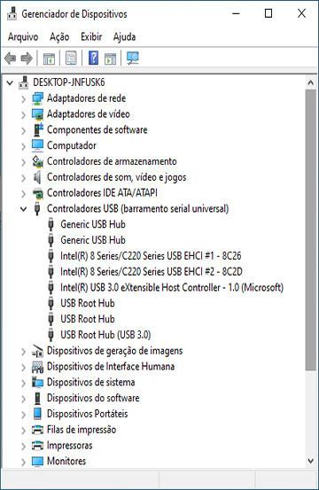 Lista de controladores USB no Gerenciador de Dispositivos