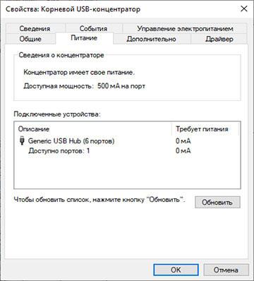 Окно Свойства питания корневого концентратора USB