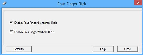 חלון ההגדרות של ההחלקה בארבע אצבעות