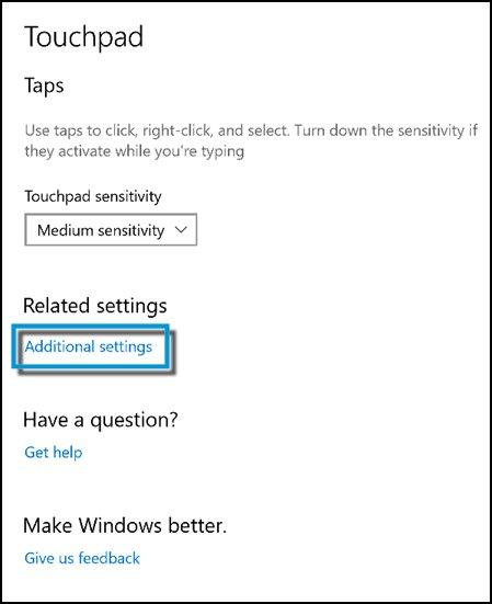 TouchPad 창에서 추가 설정 클릭