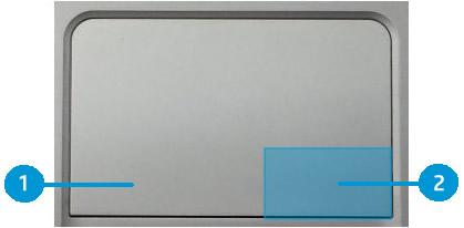 Eksempel på ClickPad med klikksoner