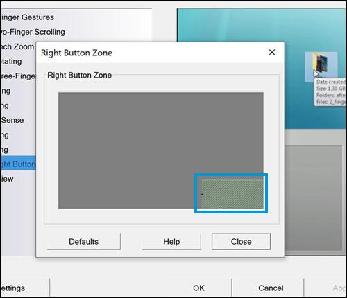 Exemplo da área da zona de clique com o botão direito do mouse