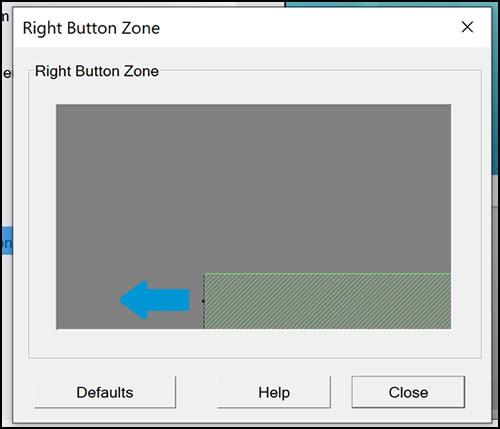 Exemplo da área da zona de clique com o botão direito expandida à esquerda
